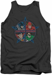 Justice League  tank top Four Heroes mens charcoal
