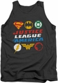 Justice League  tank top Pixel Logos mens charcoal