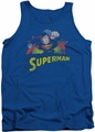 Justice League  tank top Superman Rough Distress mens royal