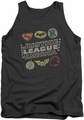 Justice League  tank top Symbols mens charcoal