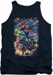 Justice League  tank top Under Attack mens navy