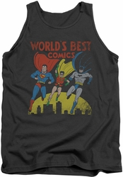 Justice League  tank top World's Best mens charcoal