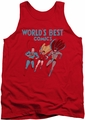 Justice League  tank top Worlds Best mens red