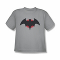 Justice League youth teen t-shirt Batman Thomas Wayne Symbol silver