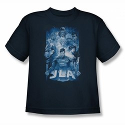 Justice League youth teen t-shirt Burst navy