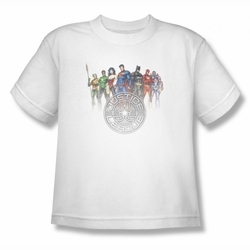 Justice League youth teen t-shirt Circle Crest white