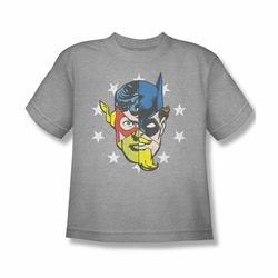 Justice League youth teen t-shirt Face Off athletic heather