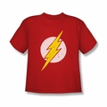 Justice League youth teen t-shirt Flash Rough Flash Symbol red