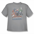 Justice League youth teen t-shirt Four Against Crime silver