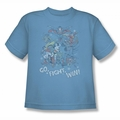Justice League youth teen t-shirt Go Fight Win carolina blue