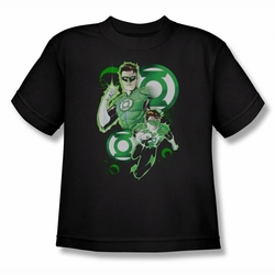 Justice League youth teen t-shirt Green Lantern In Action black