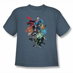 Justice League youth teen t-shirt Group Shot slate
