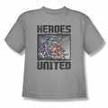 Justice League youth teen t-shirt Heroes United The Charge silver