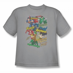 Justice League youth teen t-shirt Justice Collage silver