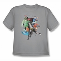 Justice League youth teen t-shirt Mashup silver