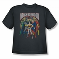 Justice League youth teen t-shirt Neighborhood Watch charcoal