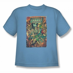 Justice League youth teen t-shirt No 212 Vintage carolina blue