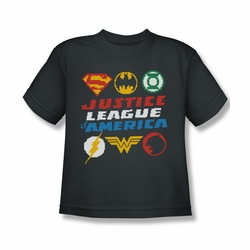 Justice League youth teen t-shirt Pixel Logos charcoal