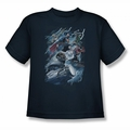 Justice League youth teen t-shirt Ride The Lightening navy