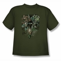 Justice League youth teen t-shirt Spacing Out military green