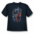 Justice League youth teen t-shirt Storm Chasers navy
