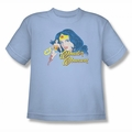 Justice League youth teen t-shirt Wonder Woman Portrait light blue