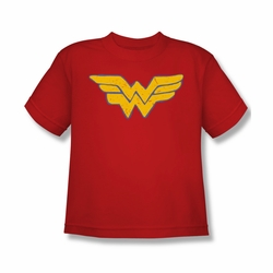 Justice League youth teen t-shirt Wonder Woman Rough Wonder Symbol red