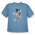 Justice League youth teen t-shirt Wonder Woman Simple Wonder carolina blue