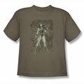 Justice League youth teen t-shirt Wonder Woman Sketch safari green