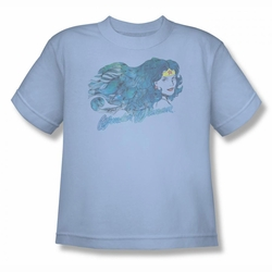 Justice League youth teen t-shirt Wonder Woman Watercolor Hair light blue