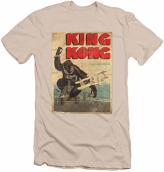 King Kong slim-fit t-shirt Old Worn Poster mens cream
