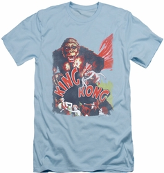 King Kong slim-fit t-shirt You Better Run mens light blue