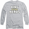King of The Nerds long-sleeved shirt Stacked Logo silver