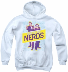 King of The Nerds youth teen hoodie Laser Guns white
