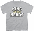 King of The Nerds youth teen t-shirt Stacked Logo silver