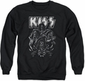Kiss adult crewneck sweatshirt Skull black