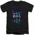 KISS Colorful Fier mens black v-neck t-shirt