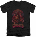 KISS Comic Style mens black v-neck t-shirt