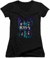 KISS juniors v-neck t-shirt Colorful Fier black