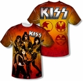 KISS mens full sublimation t-shirt Fire Pose