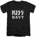 KISS Navy Block mens black v-neck t-shirt