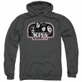 KISS pull-over hoodie Throwback adult charcoal