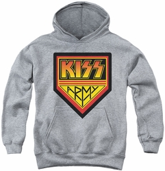 Kiss youth teen hoodie Army Logo athletic heather