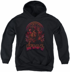 KISS youth teen hoodie Comic Style black