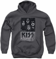 Kiss youth teen hoodie Live charcoal