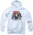 Kiss youth teen hoodie Throwback Pose white