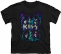 KISS youth teen t-shirt Colorful Fier black