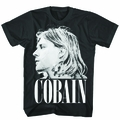 Kurt Cobain Side View Photo mens black t shirt