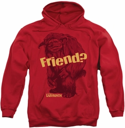 Labyrinth pull-over hoodie Ludo Friend adult red