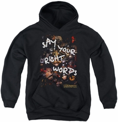 Labyrinth youth teen hoodie Right Words black